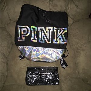 (2) BUNDLE DEAL PINK BACK PACK & SEQUIN BAG